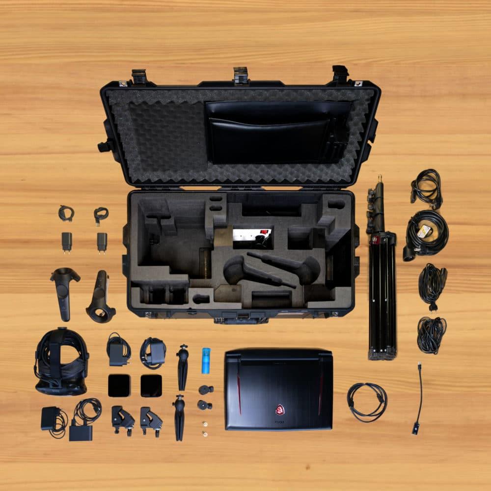 Vue éclatée de la valise d'équipement de réalité virtuelle gamme l