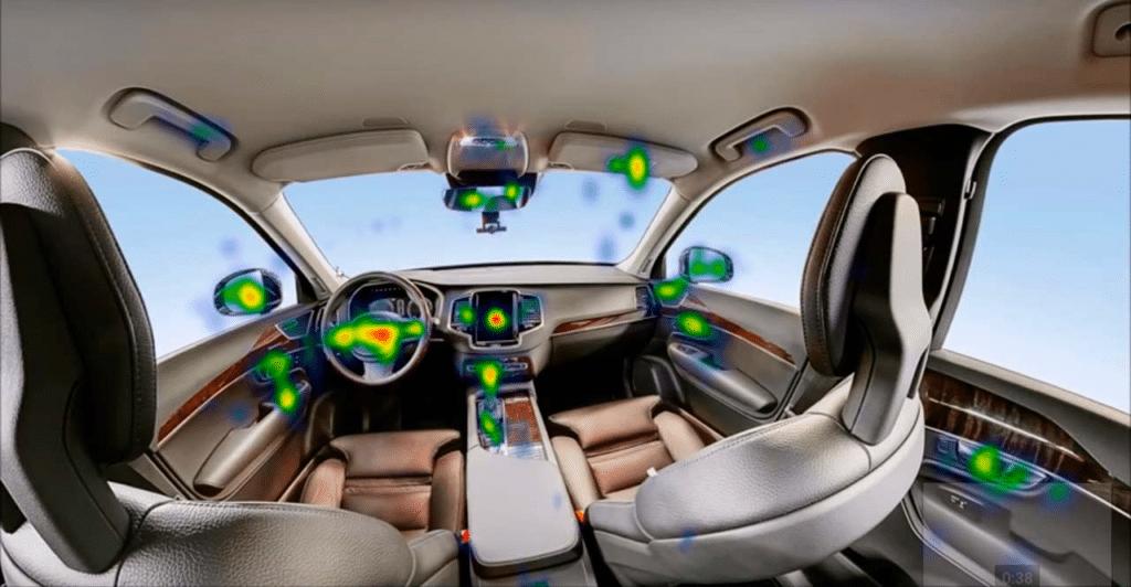 Visualisation en réalité virtuelle d'un intérieur de voiture pour montrer avec le suivi oculaire les points chauds d'attentions des utilisateurs du casque dans un souci de découverte produit et marketing.