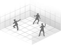 Pictogramme de l'espace de jeu et d'utilisation par plusieurs personnes du casque de réalité virtuelle HTC VIVE PRO eye dans un espace de 10 mètres par 10 mètres.