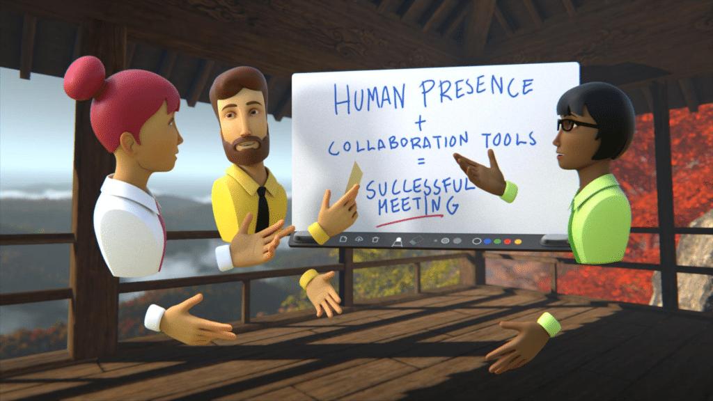 Avatars 3D qui échangent ensemble lors d'une réunion à distance grâce à la VR.