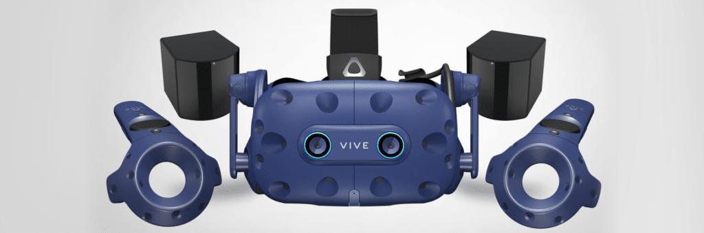 Casque HTC VIVE PRO EYE et l'ensemble de ses accessoires indispensables à son utilisation.